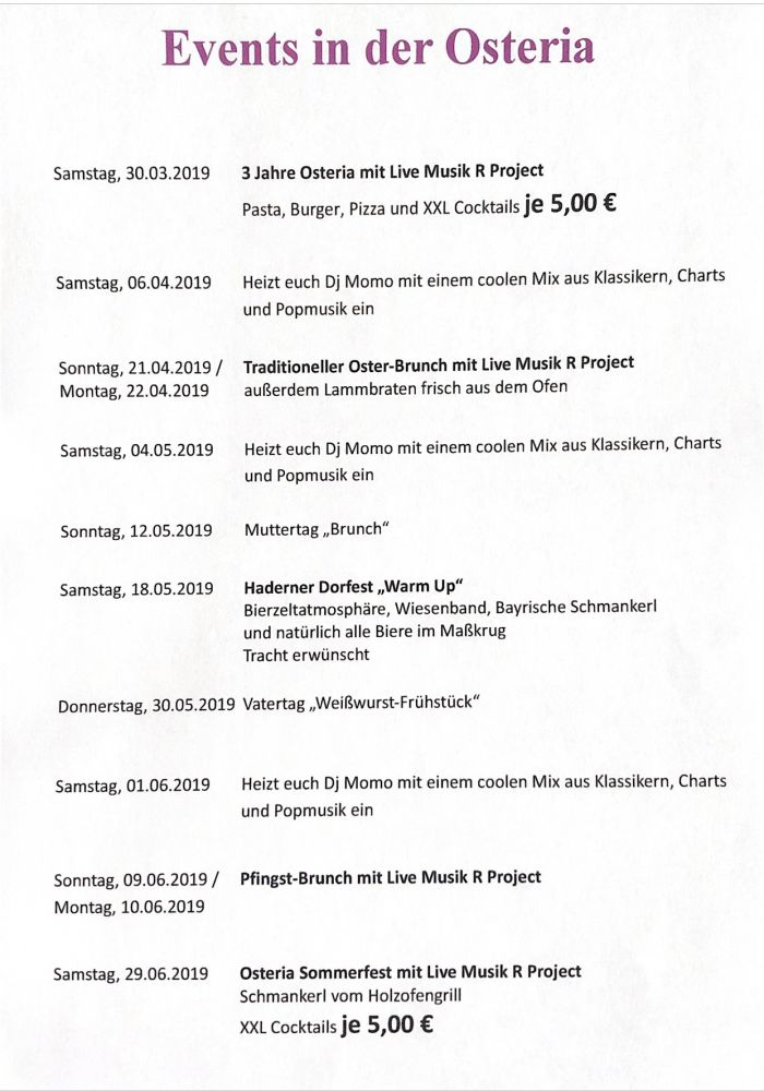 Events in der Osteria